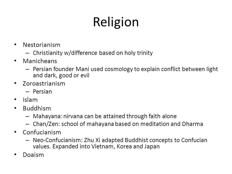 Religion Nestorianism Manicheans Zoroastrianism Islam Buddhism