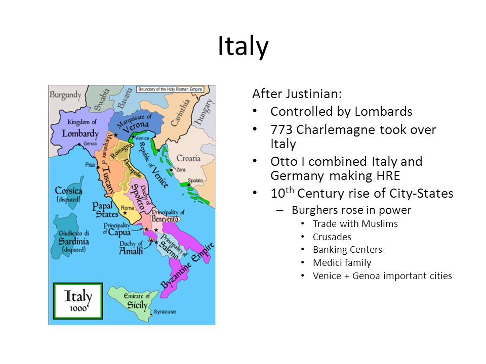 Italy After Justinian: Controlled by Lombards