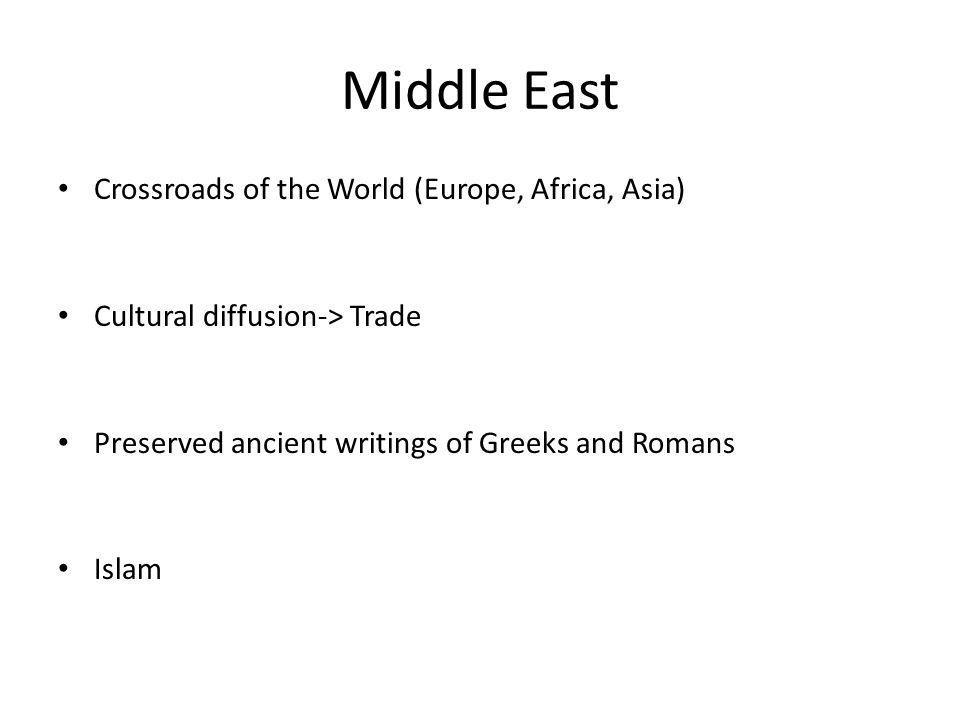 Middle East Crossroads of the World (Europe, Africa, Asia)