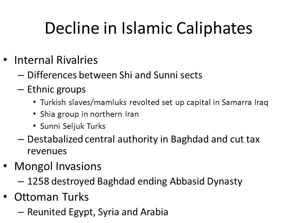 Decline in Islamic Caliphates