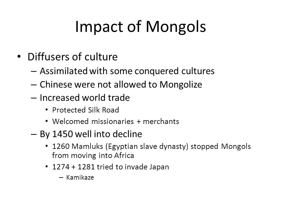 Impact of Mongols Diffusers of culture