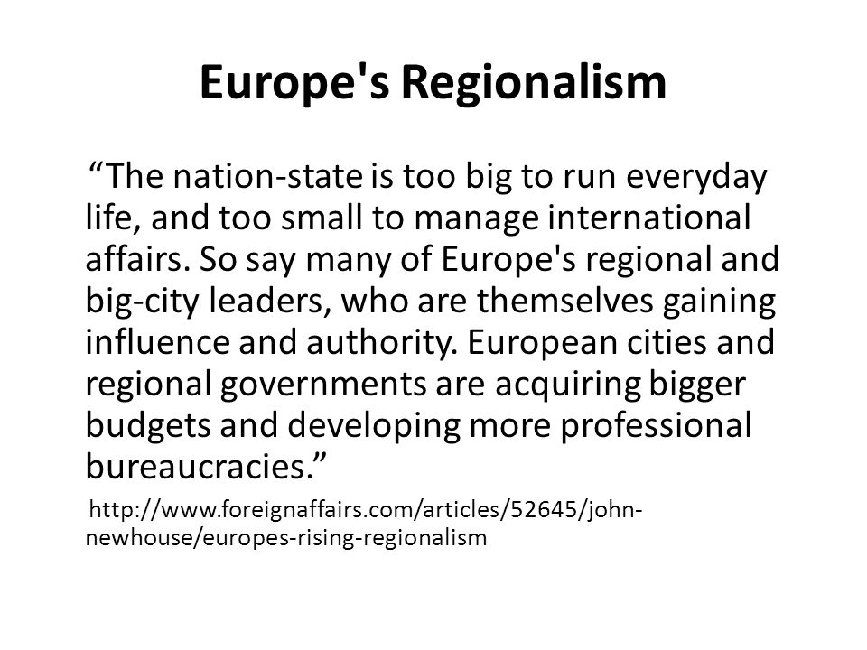 Europe s Regionalism