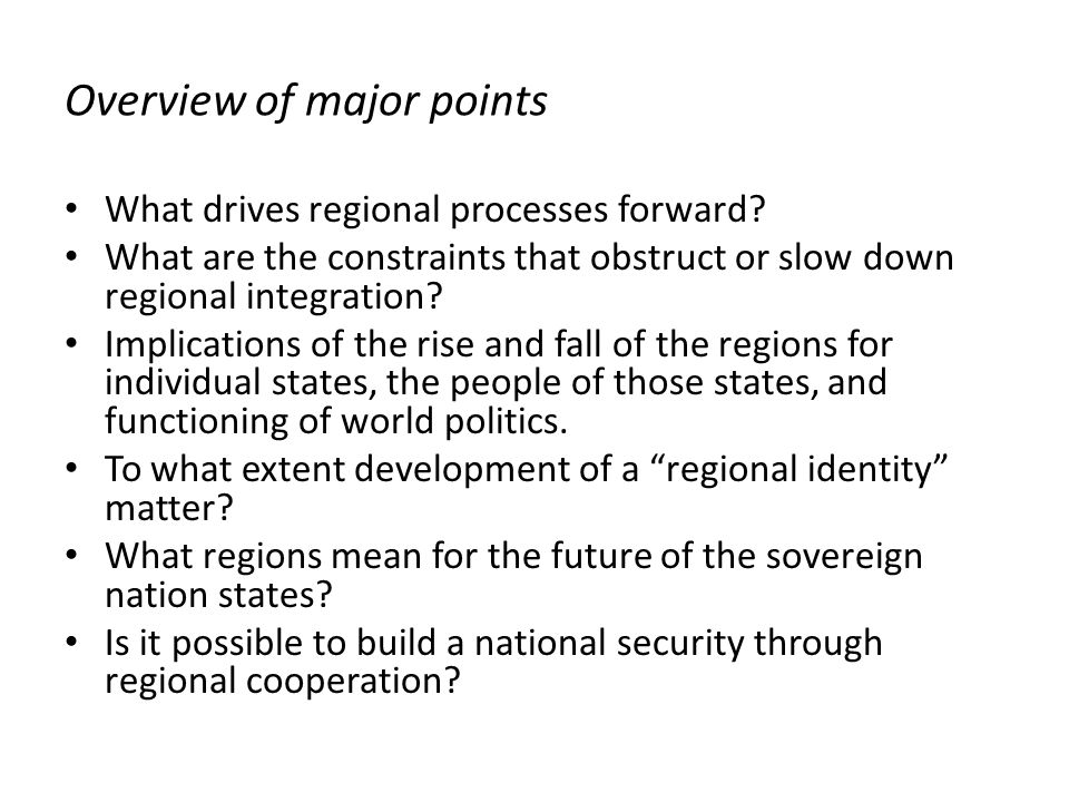 Overview of major points