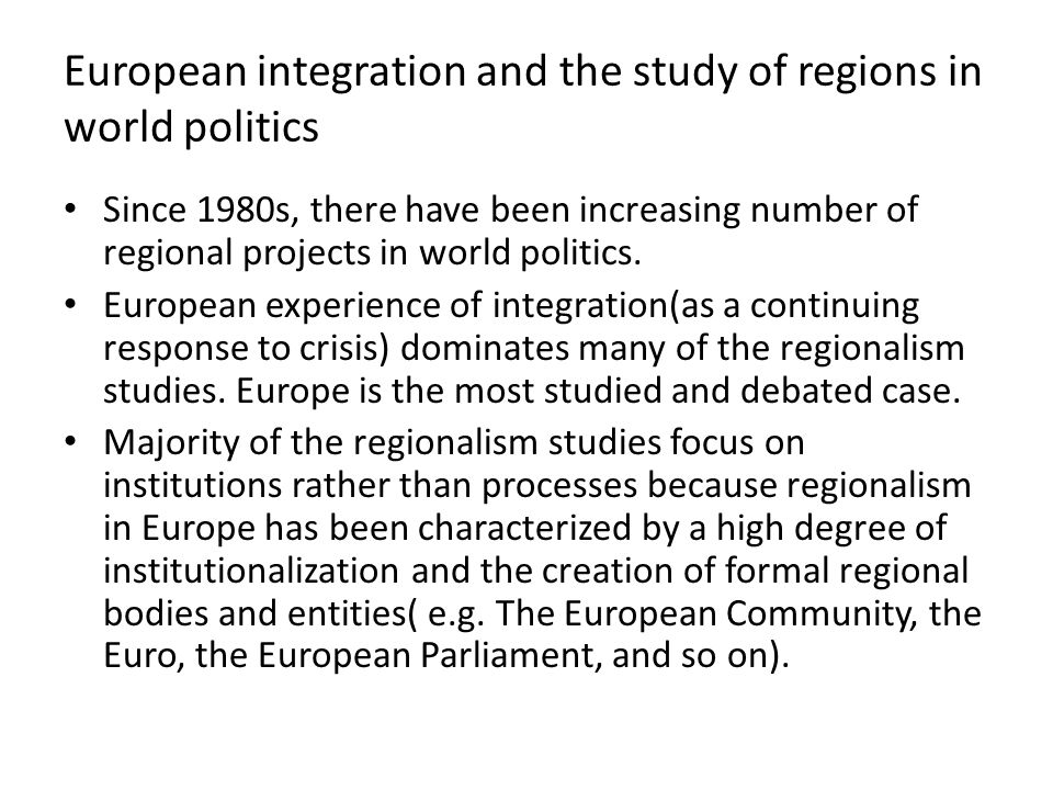 European integration and the study of regions in world politics