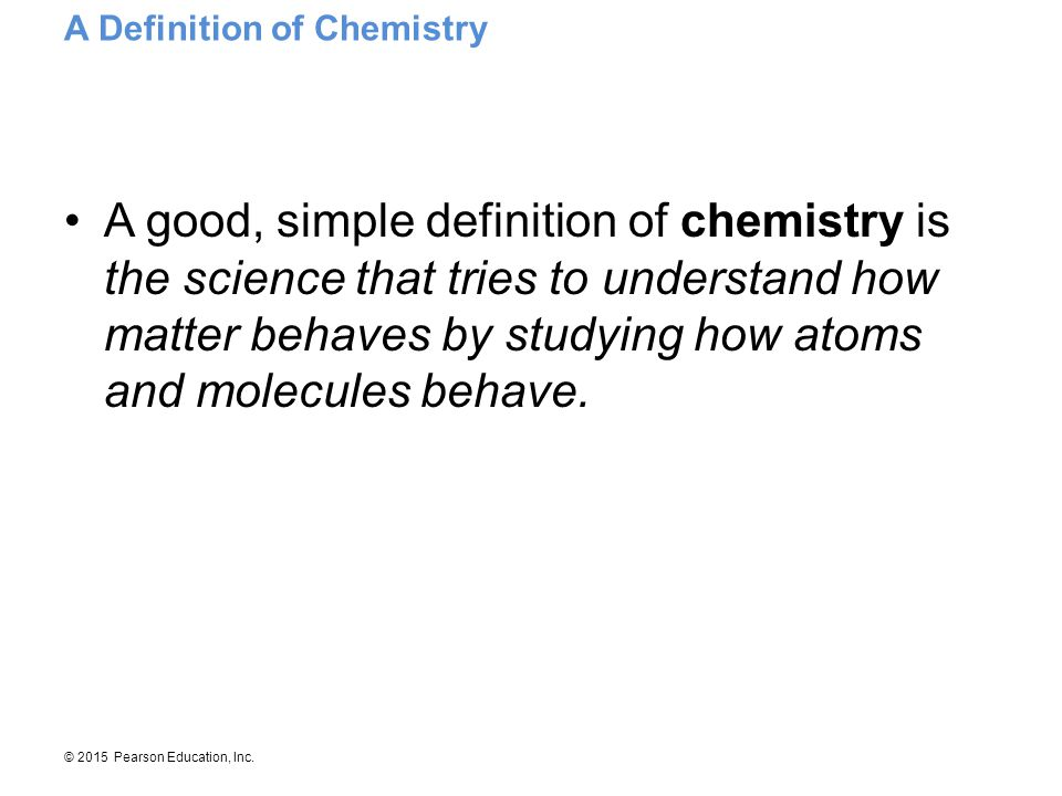 A Definition of Chemistry