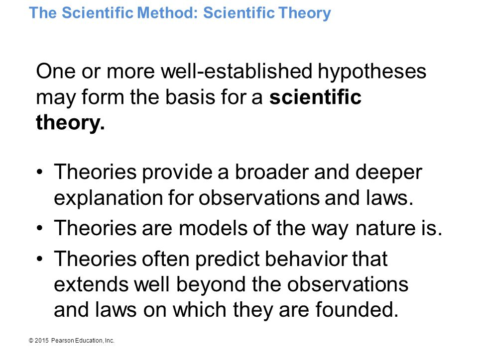 Theories are models of the way nature is.