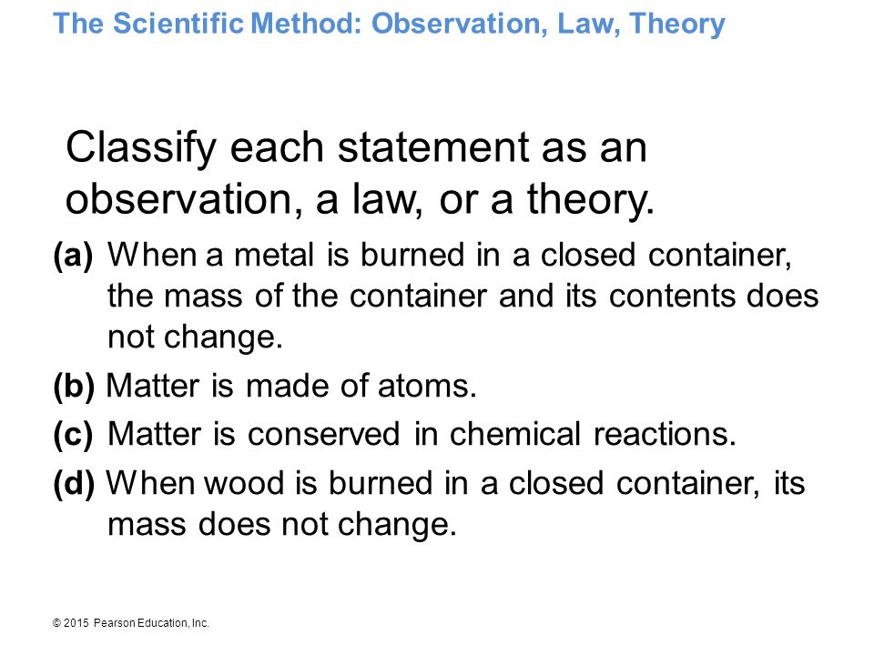 Classify each statement as an observation, a law, or a theory.