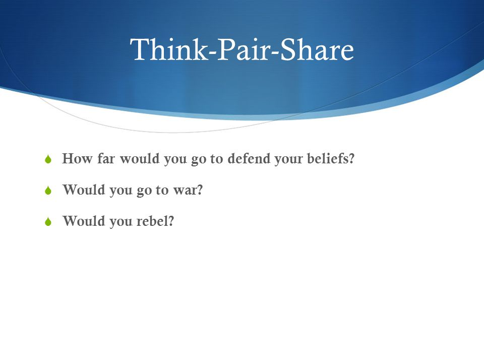 Think-Pair-Share How far would you go to defend your beliefs