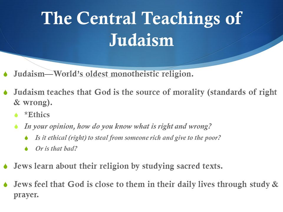 The Central Teachings of Judaism