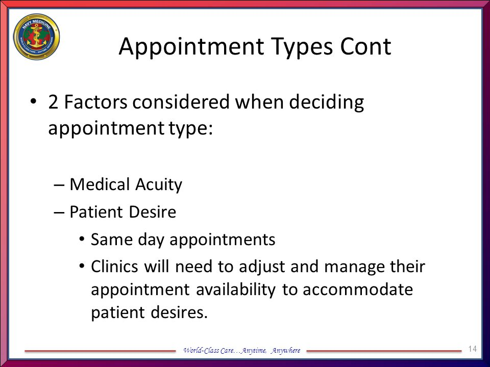 Appointment Types Cont