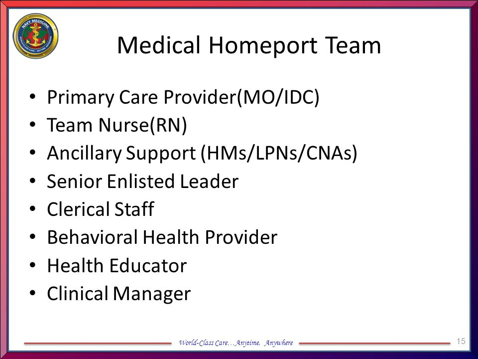 Medical Homeport Team Primary Care Provider(MO/IDC) Team Nurse(RN)
