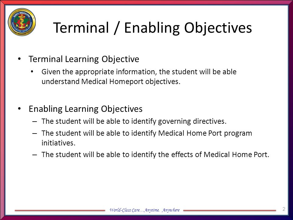 Terminal / Enabling Objectives