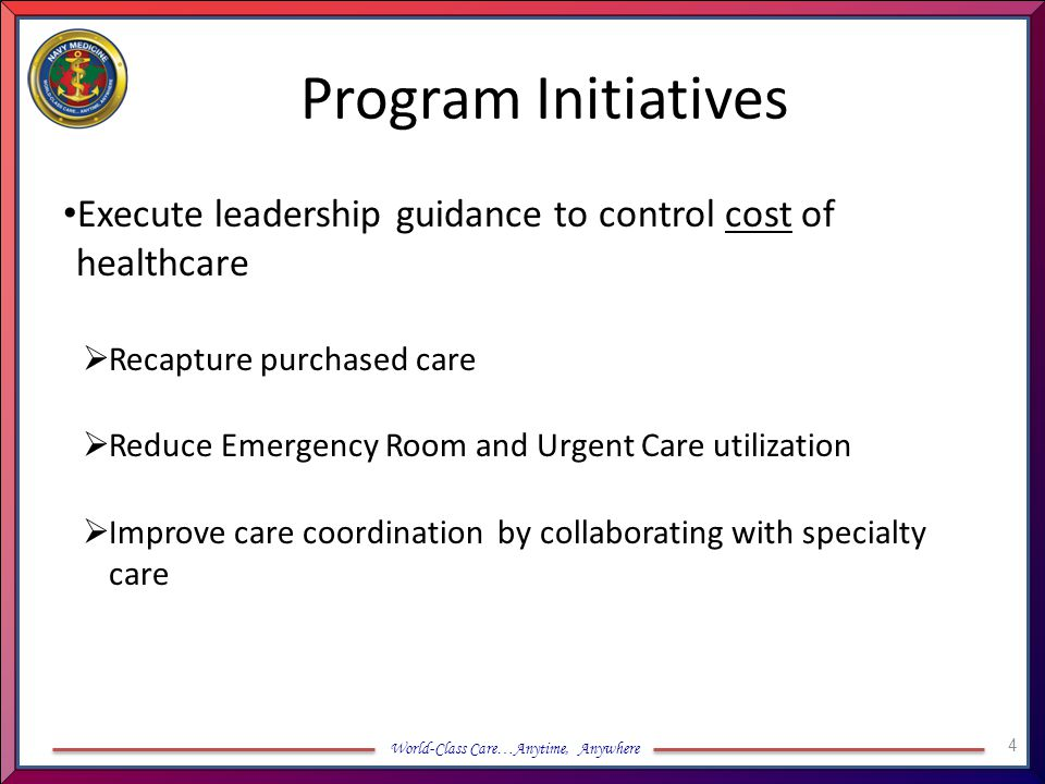 Program Initiatives Execute leadership guidance to control cost of healthcare. Recapture purchased care.