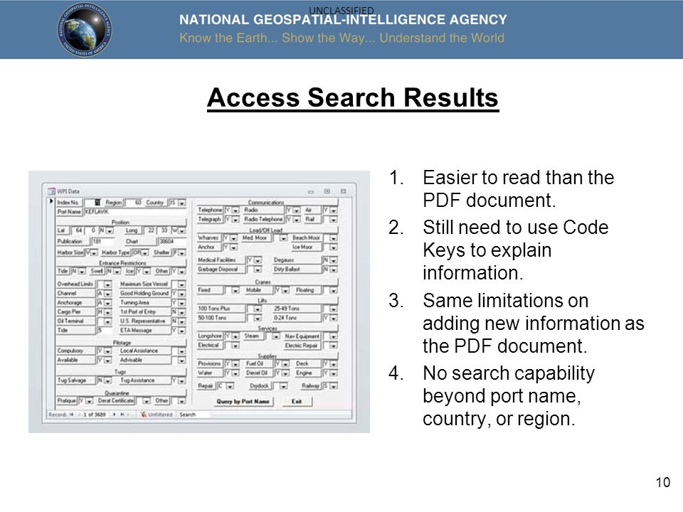 Access Search Results Easier to read than the PDF document.