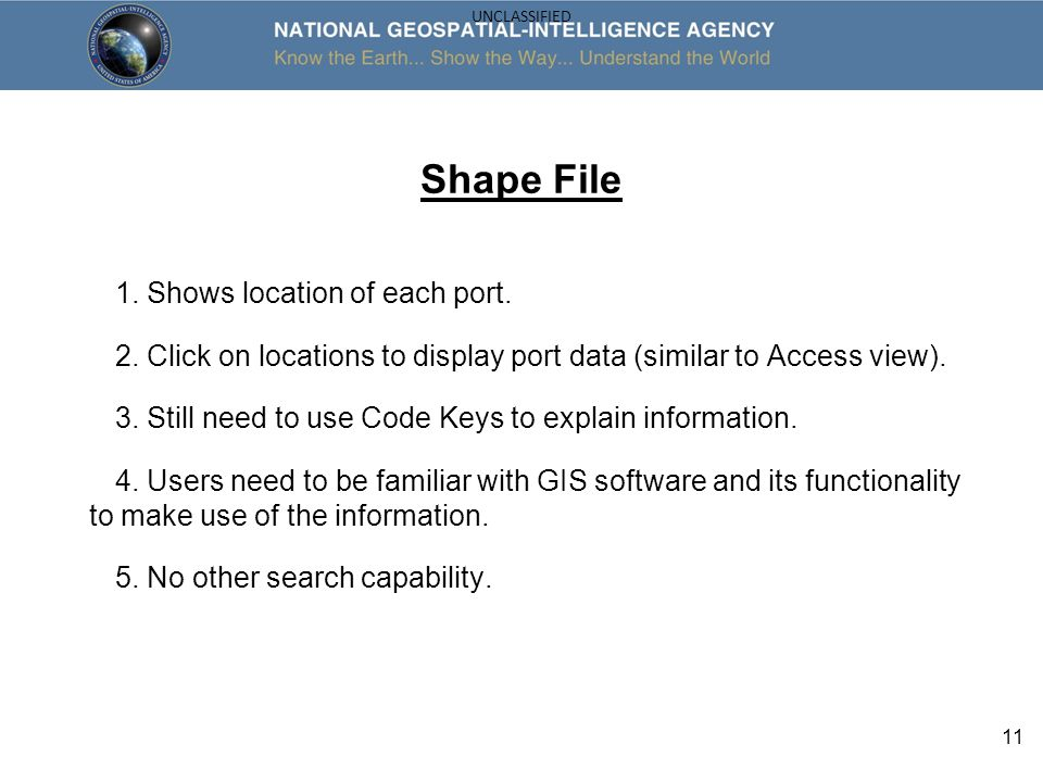 Shape File 1. Shows location of each port.