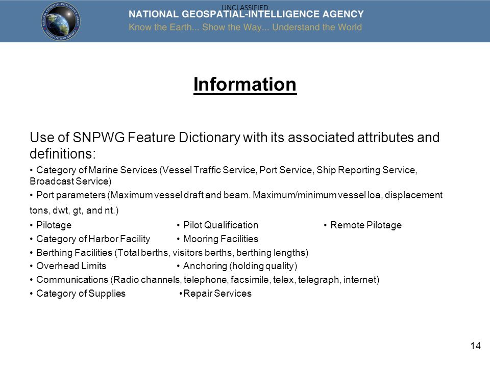 Information Use of SNPWG Feature Dictionary with its associated attributes and definitions: