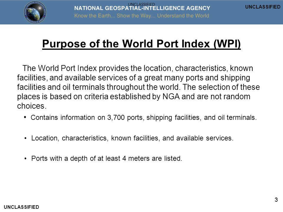 Purpose of the World Port Index (WPI)