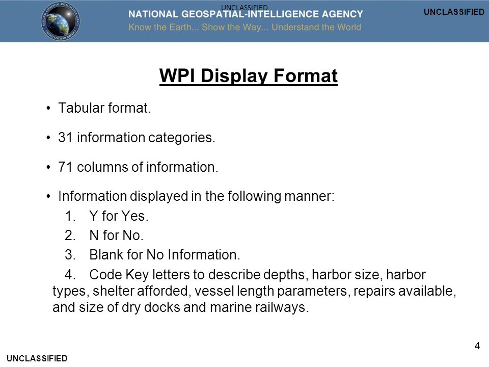 WPI Display Format • Tabular format. • 31 information categories.