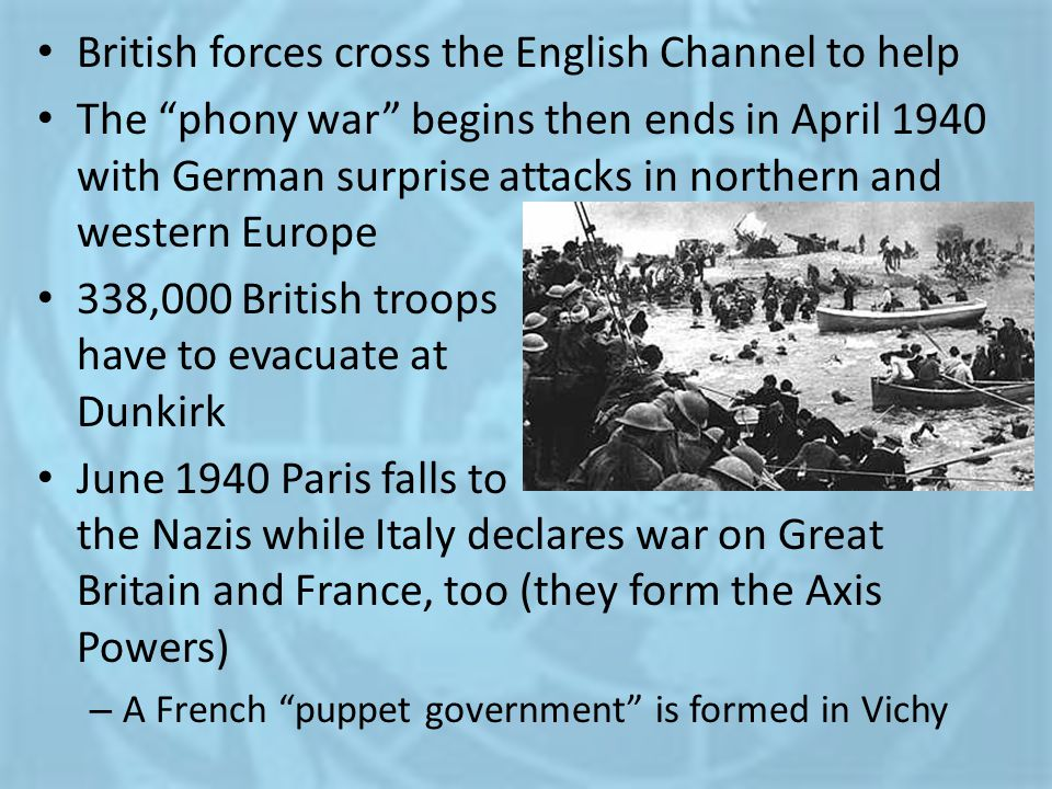 British forces cross the English Channel to help