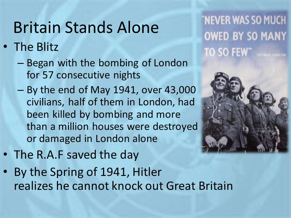 Britain Stands Alone The Blitz The R.A.F saved the day