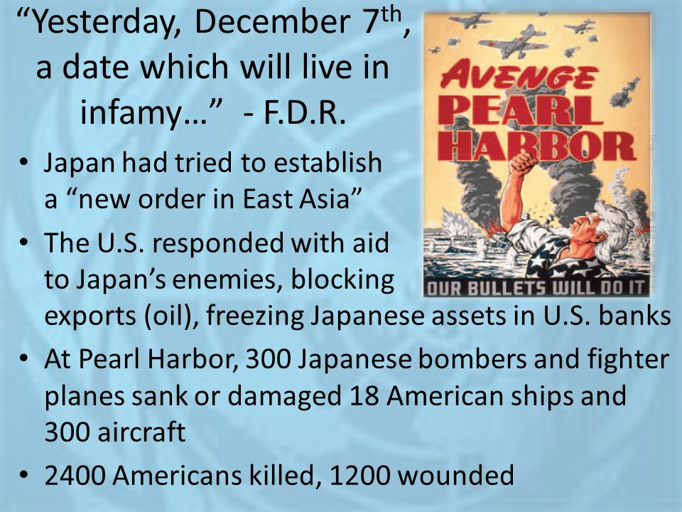 Yesterday, December 7th, a date which will live in infamy… - F.D.R.
