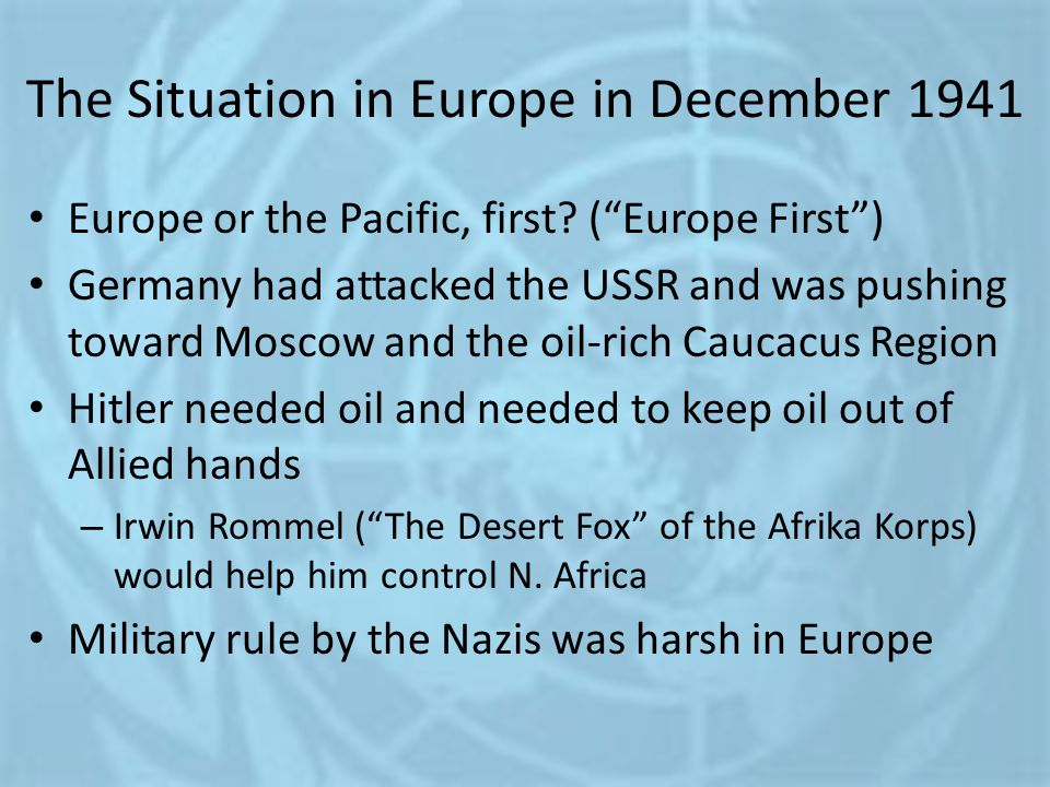 The Situation in Europe in December 1941