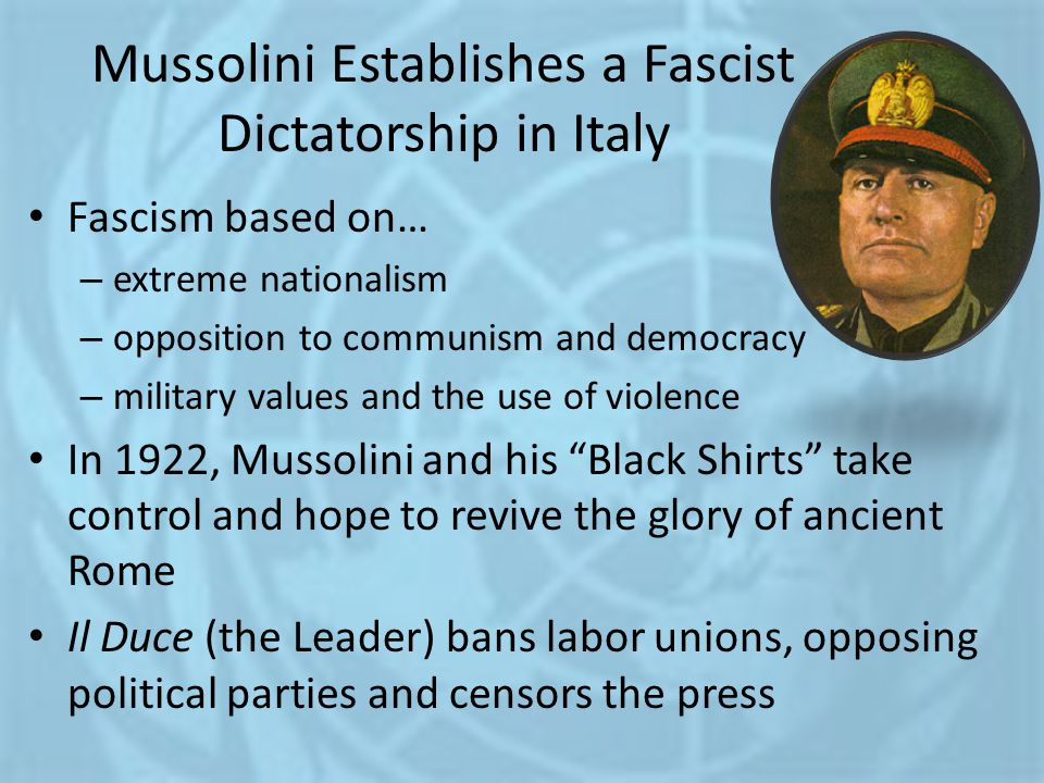 Mussolini Establishes a Fascist Dictatorship in Italy