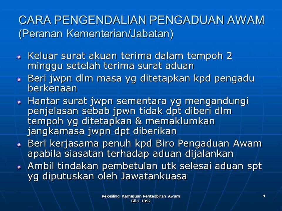 CARA PENGENDALIAN PENGADUAN AWAM (Peranan Kementerian/Jabatan)