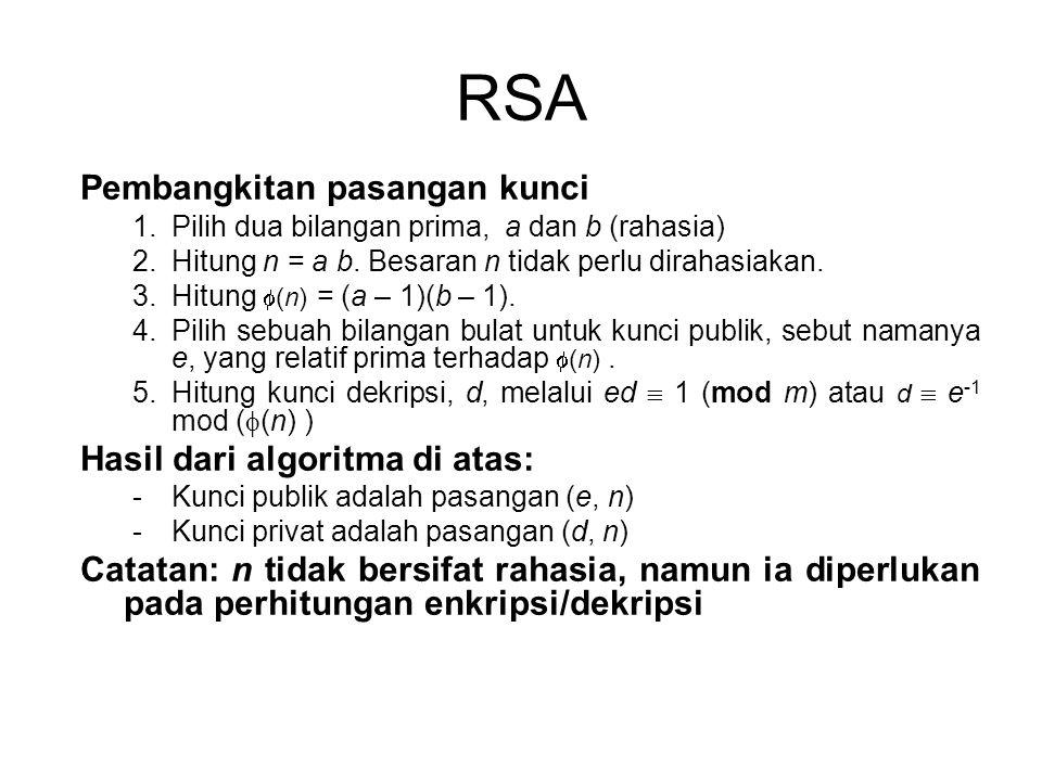 RSA Pembangkitan pasangan kunci Hasil dari algoritma di atas: