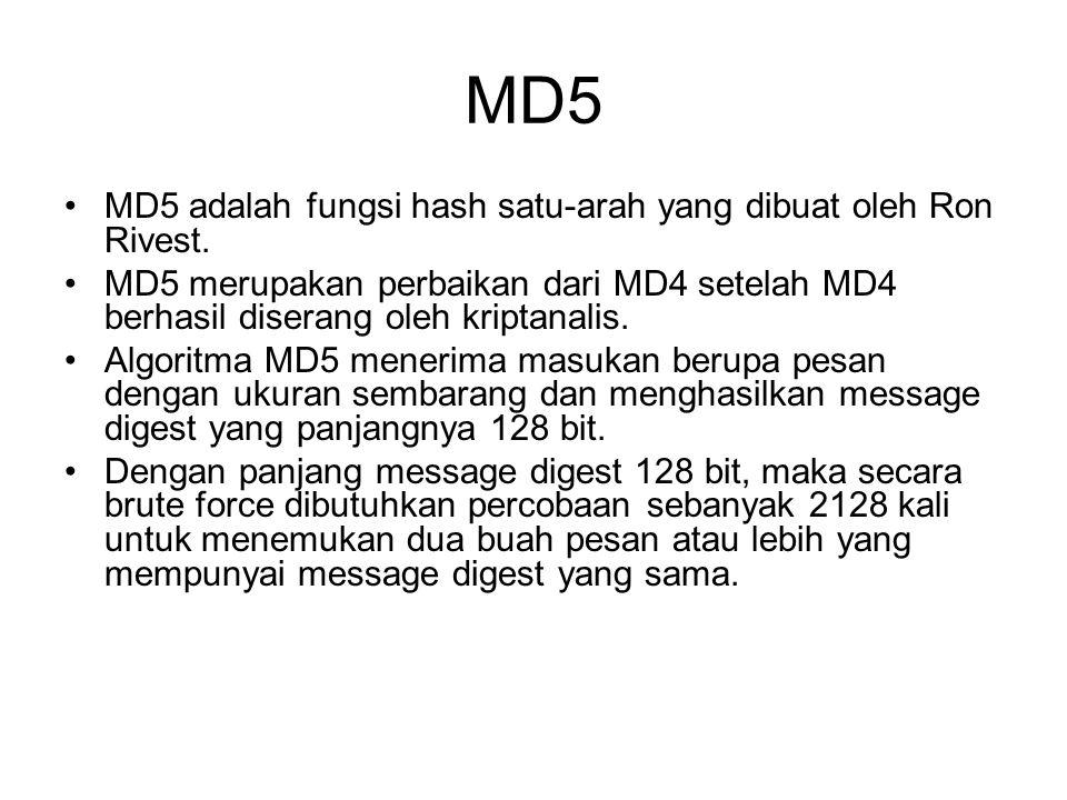 MD5 MD5 adalah fungsi hash satu-arah yang dibuat oleh Ron Rivest.