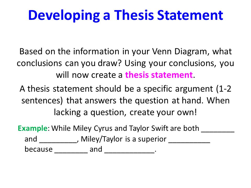 develop thesis statement essay Creating a thesis statement & outline it also tells your reader what to expect from the essay a thesis statement can be very helpful in constructing the outline.