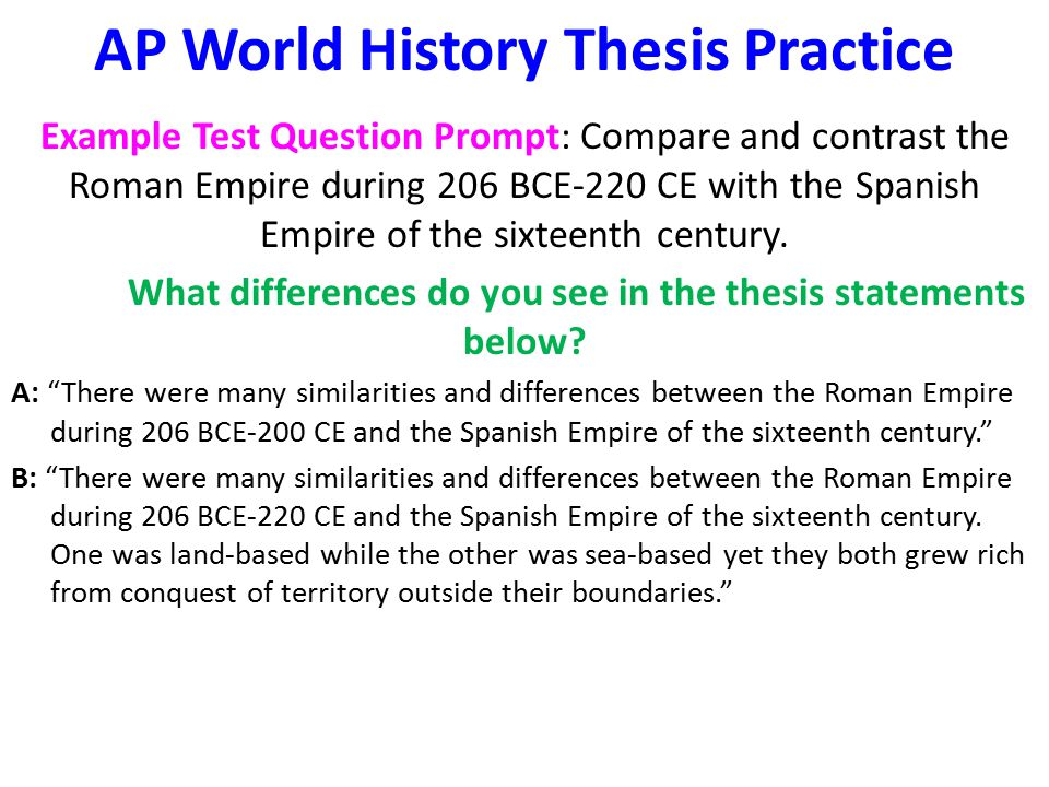 Good thesis statements for ap world history