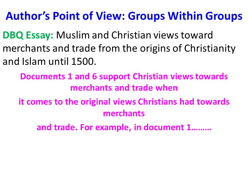 essay on the subject of christianity and additionally islam dbq