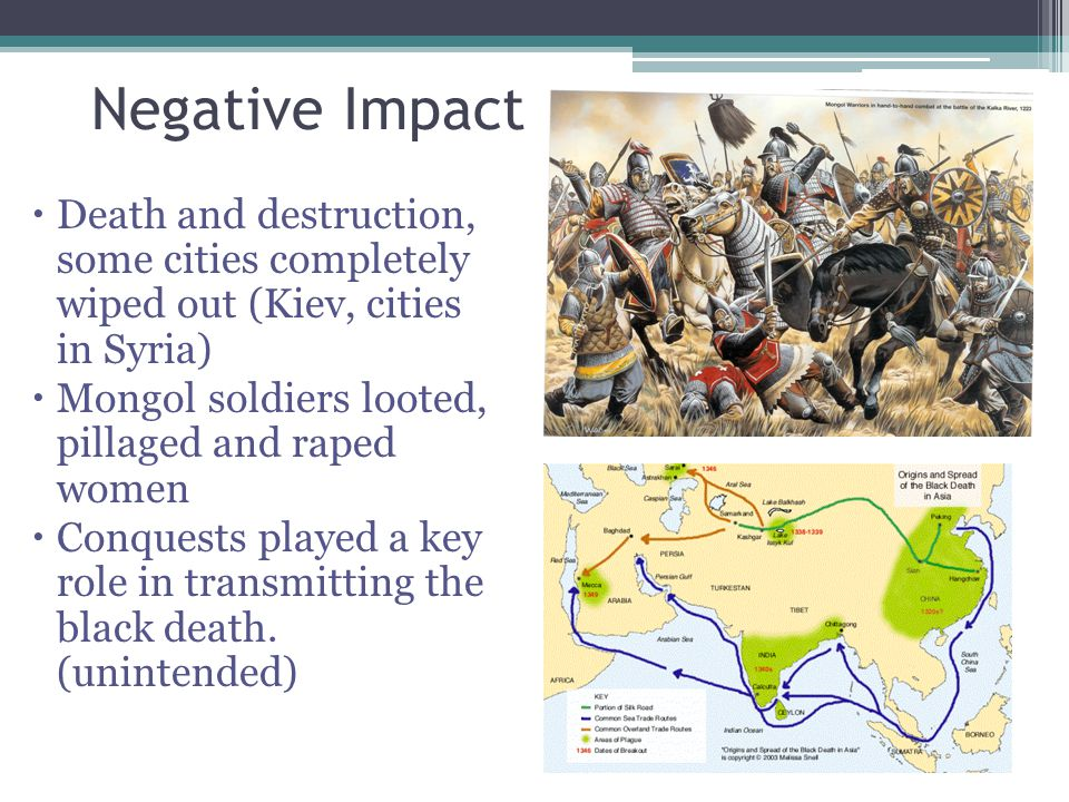 Negative Impact Death and destruction, some cities completely wiped out (Kiev, cities in Syria)