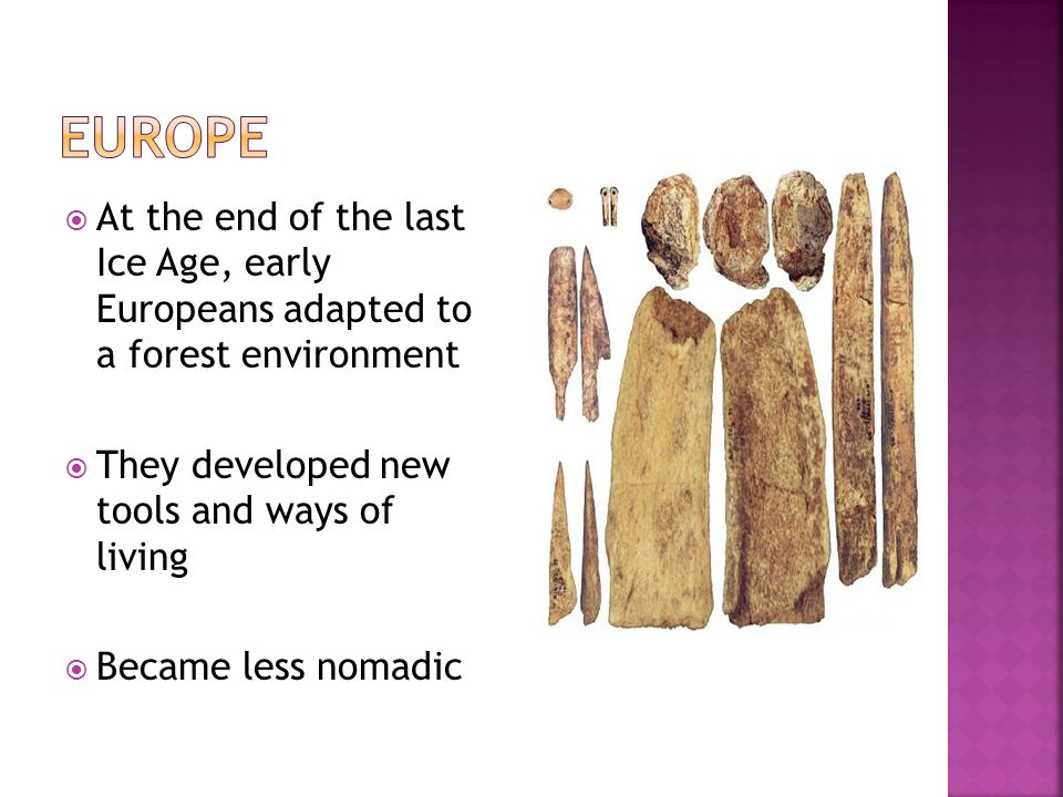 Europe At the end of the last Ice Age, early Europeans adapted to a forest environment. They developed new tools and ways of living.