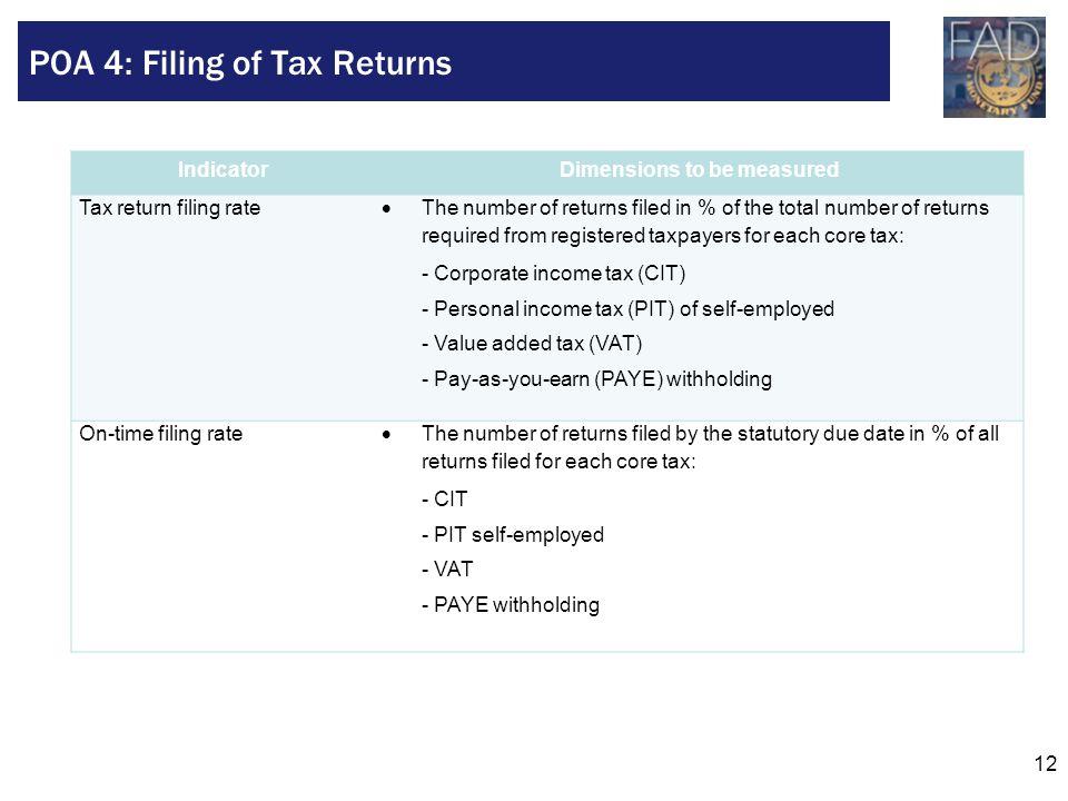 POA 4: Filing of Tax Returns