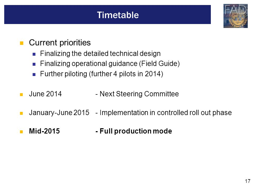 Timetable Current priorities Finalizing the detailed technical design