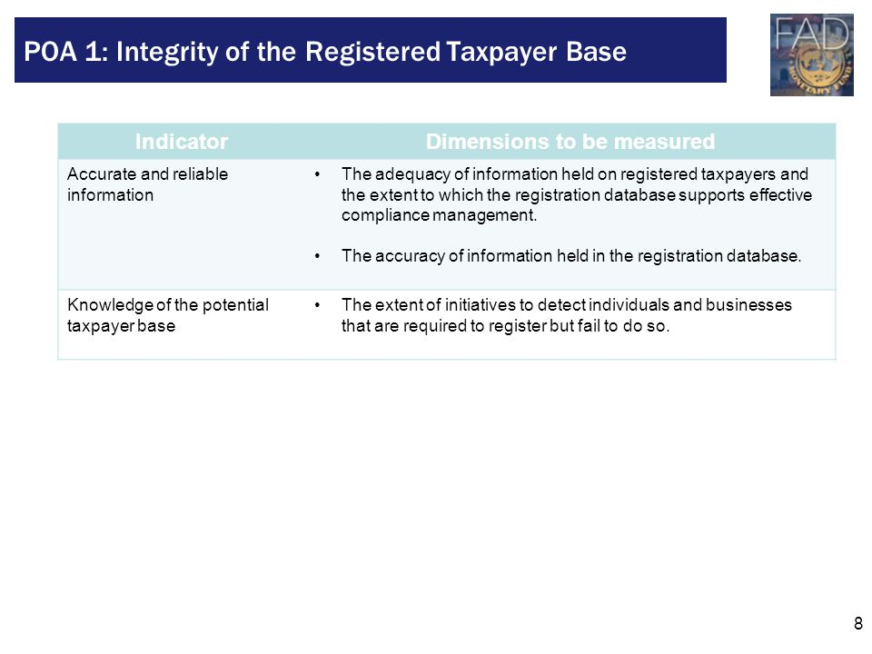 POA 1: Integrity of the Registered Taxpayer Base