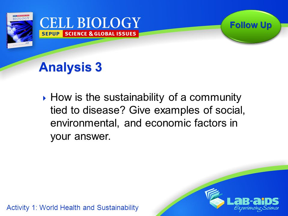 Analysis 3 How is the sustainability of a community tied to disease Give examples of social, environmental, and economic factors in your answer.