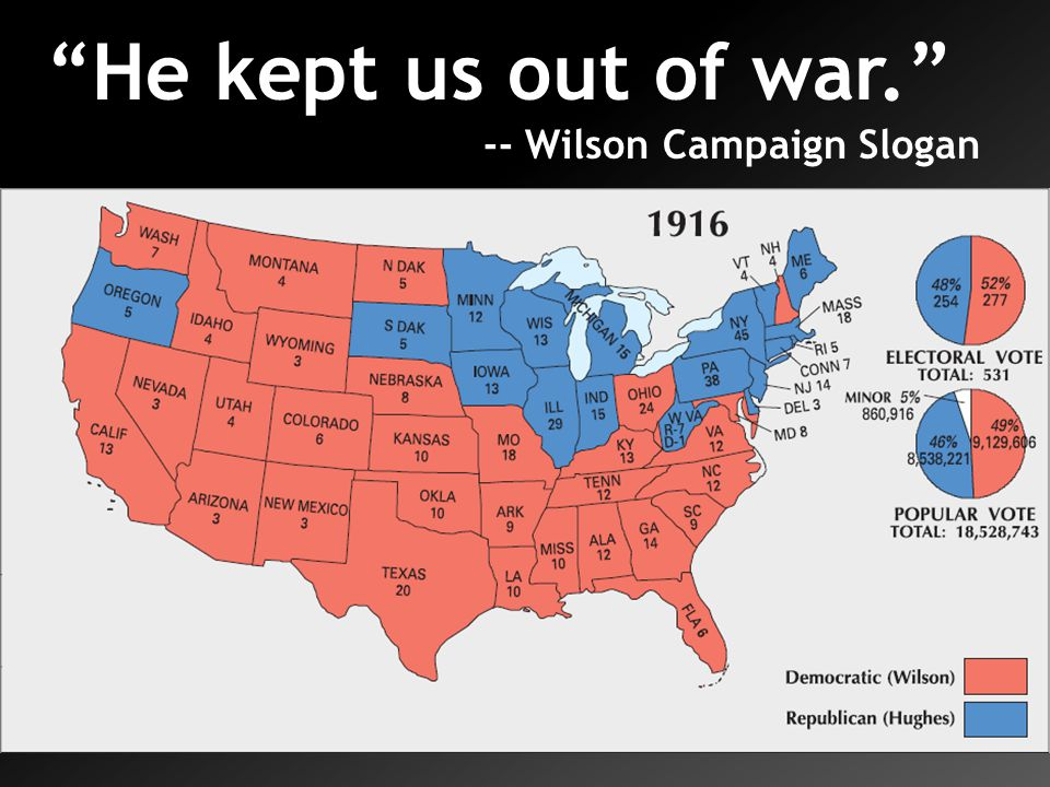 He kept us out of war. -- Wilson Campaign Slogan