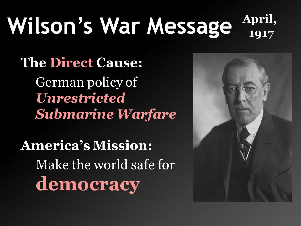 Wilson's War Message The Direct Cause: