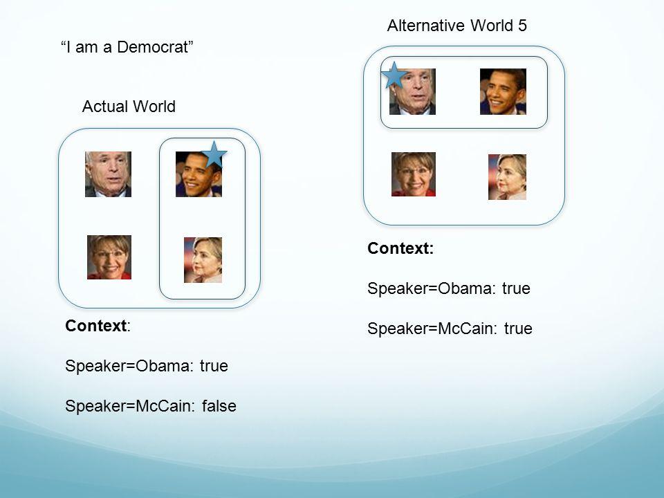 Alternative World 5 I am a Democrat Actual World. Context: Speaker=Obama: true. Speaker=McCain: true.