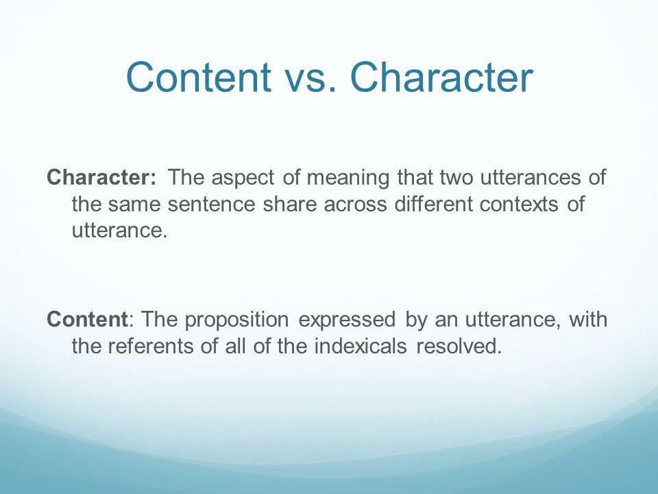 Content vs. Character