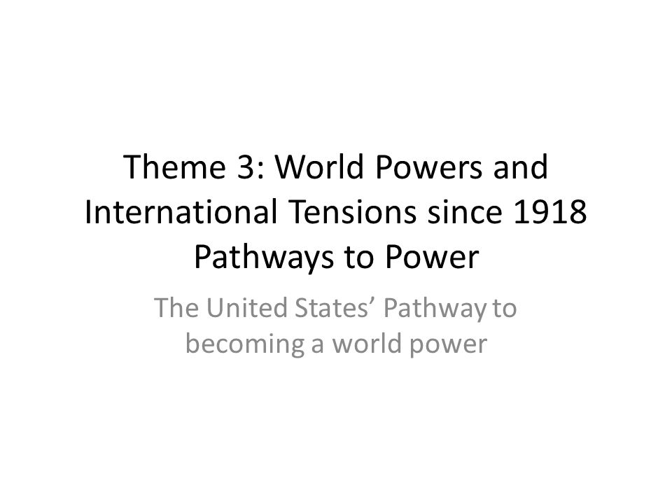 The United States' Pathway to becoming a world power