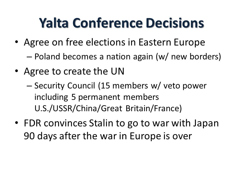 Yalta Conference Decisions