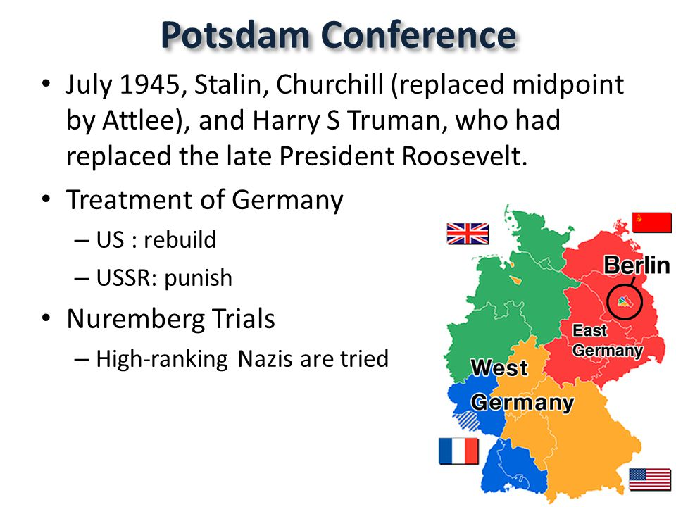 Potsdam Conference July 1945, Stalin, Churchill (replaced midpoint by Attlee), and Harry S Truman, who had replaced the late President Roosevelt.