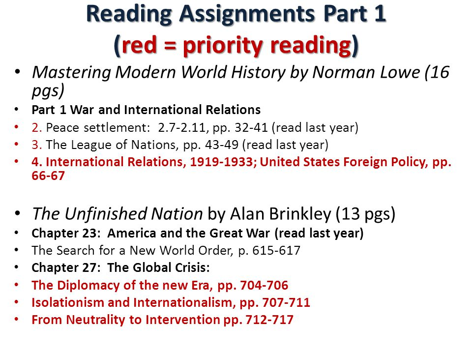 Reading Assignments Part 1 (red = priority reading)