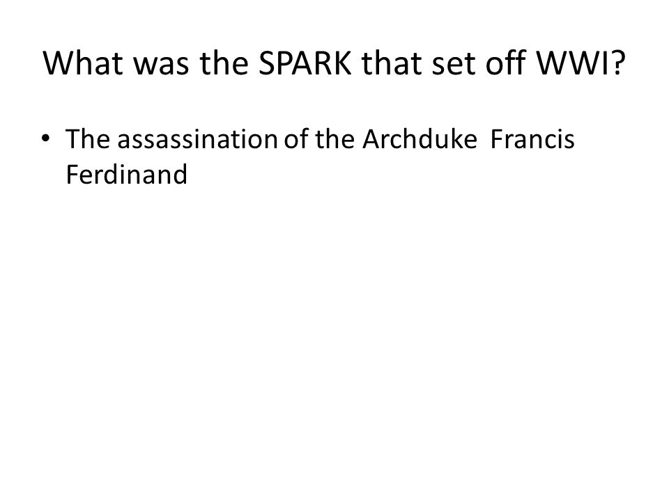 What was the SPARK that set off WWI
