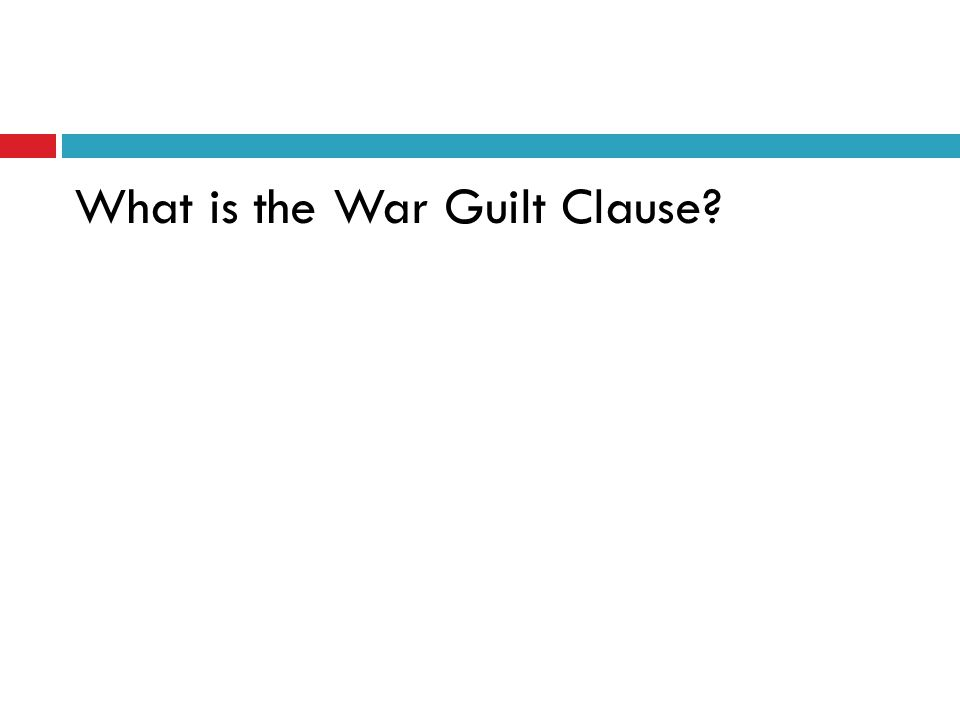 What is the War Guilt Clause