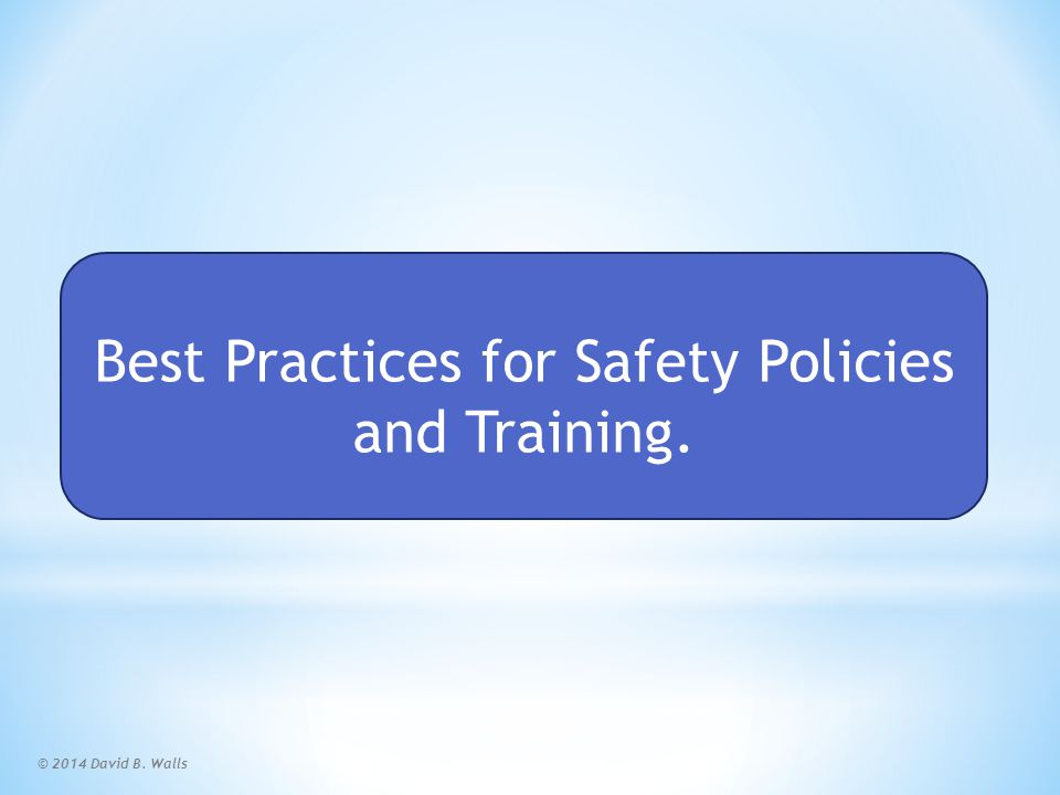 Safety Policy and Training Scorecard